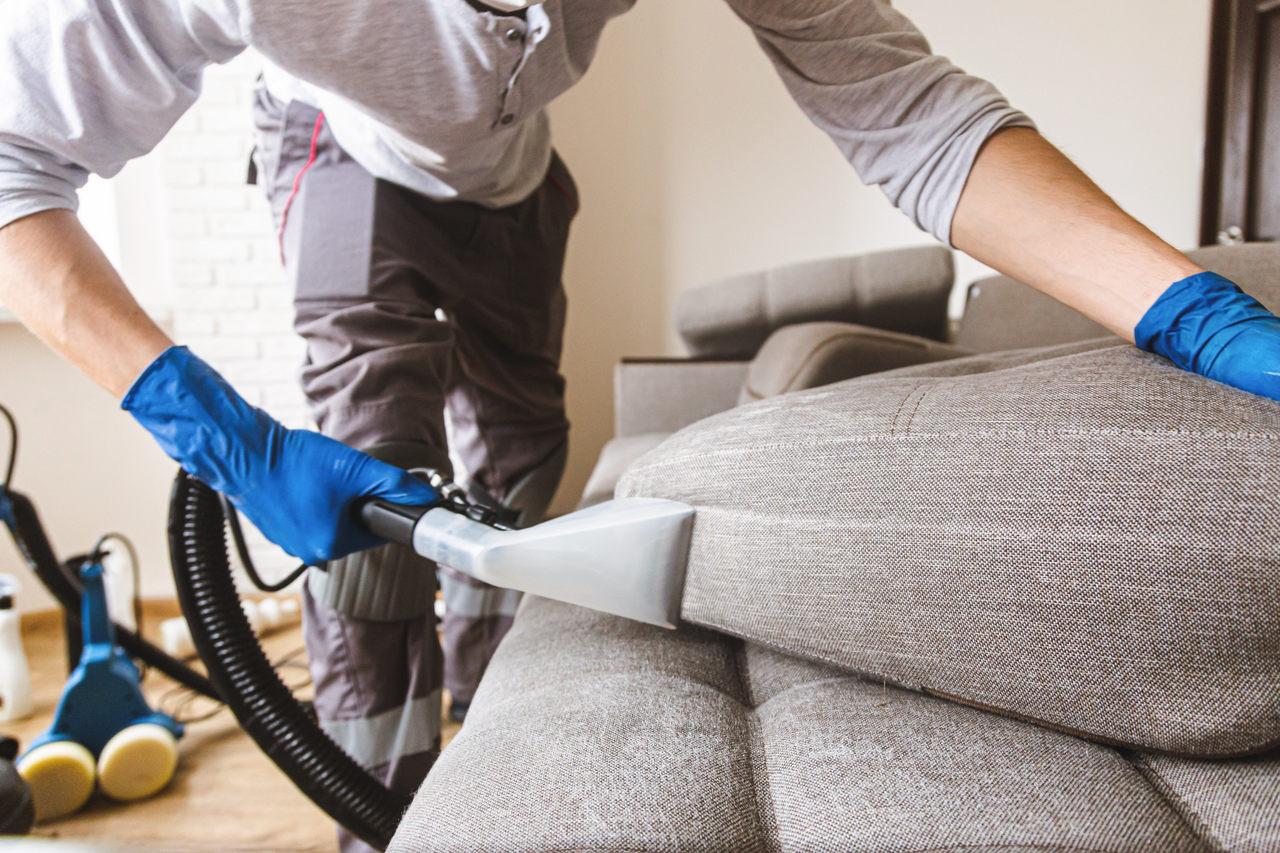 pracownik pierze sofę na mokro